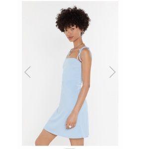 Nastygal Ribbed Blue Tie-shoulder Dress